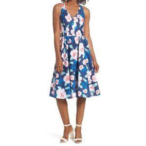ELIZA J Floral Fit & Flare Halter Dress